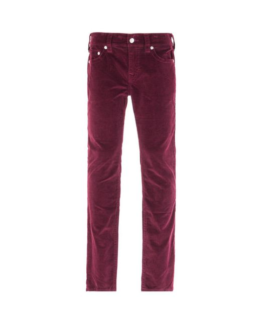 True Religion Multicolor Rocco Relaxed Skinny Burgundy Corduroy Trousers for men