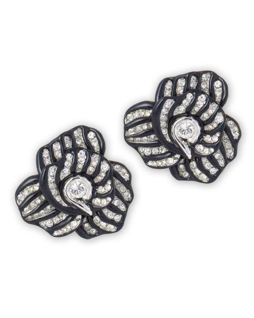 Kenneth Jay Lane | Black Highlights Crystal Flower Clip Earring | Lyst