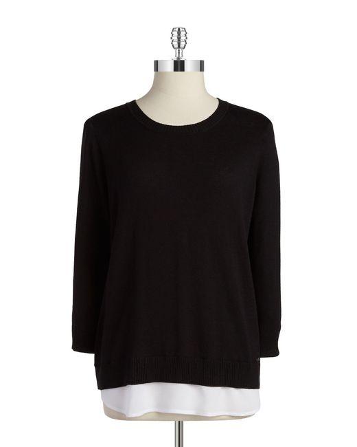 Calvin Klein | Black Layered Pullover Sweater | Lyst