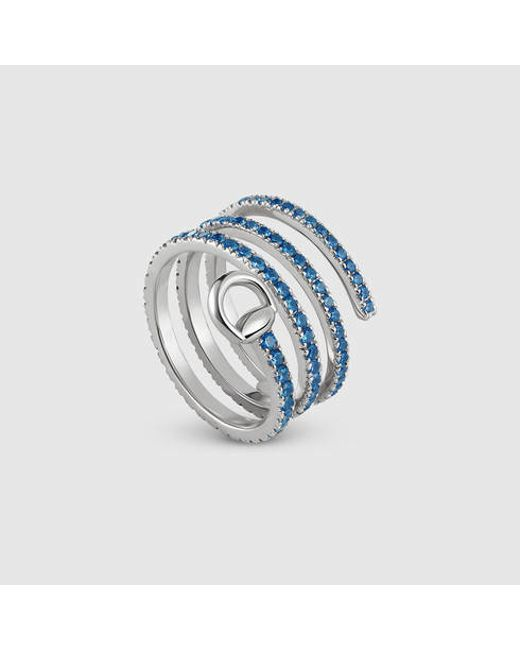 Gucci | Horsebit Ring In White Gold | Lyst