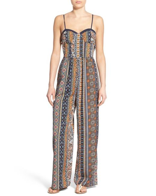 Band of gypsies Print Sweetheart Jumpsuit in Blue (NAVY ...