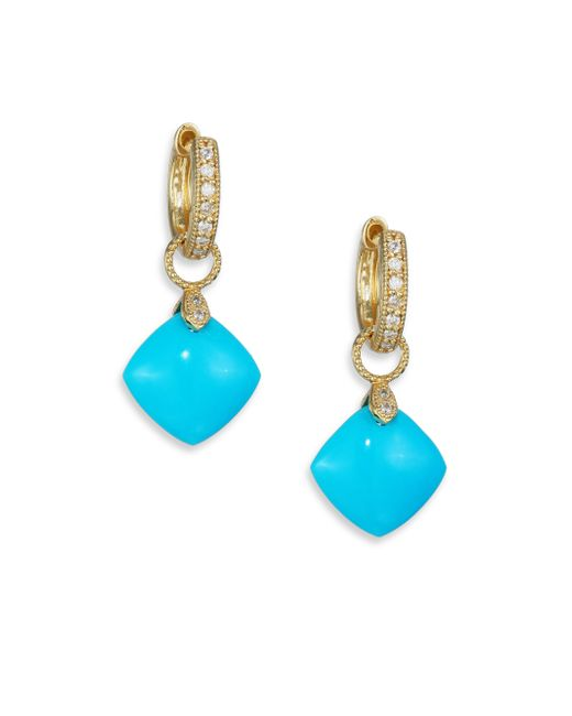 Jude Frances   Blue Classic Turquoise, Diamond & 18k Yellow Gold Cushion Earring Charms   Lyst