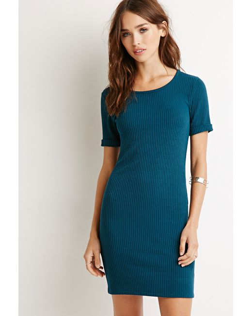 Forever 21 | Blue Ribbed Knit Bodycon Dress | Lyst