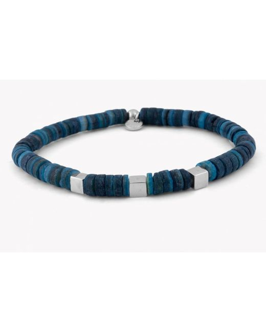 Tateossian | Seychelles Beaded Bracelet In Blue Shells With Silver Cubes for Men | Lyst