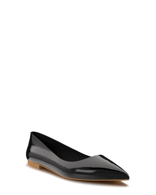 shoes of prey pointy toe flat in black black patent lyst