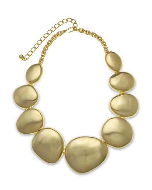 Kenneth Jay Lane | Metallic Satin Gold Disk Necklace | Lyst