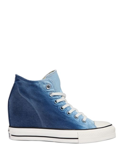 Converse 80mm Star Mid Lux Denim Wedge Sneakers In Blue