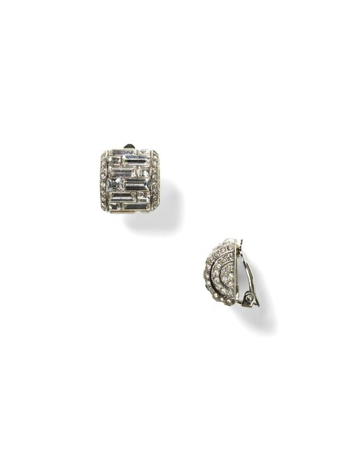 Carolee | Metallic Crystal Button Clip-on Earrings | Lyst