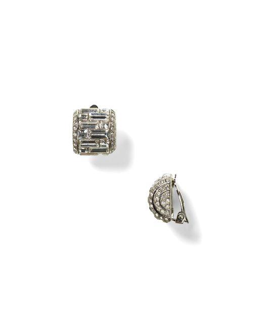 Carolee | Metallic Crystal Button Clip-on Earrings | Lyst