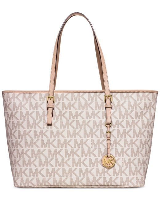 Michael Kors | Natural Michael Jet Set Travel Medium Top Zip Multifunction Tote | Lyst