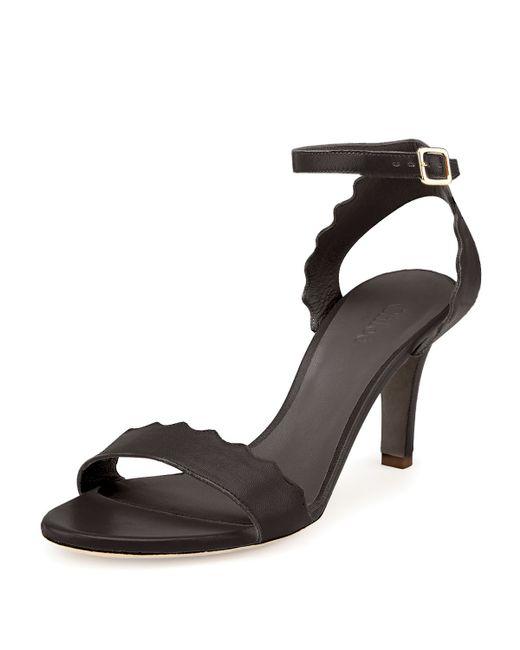 Chloé | Black Scalloped Leather Sandal | Lyst