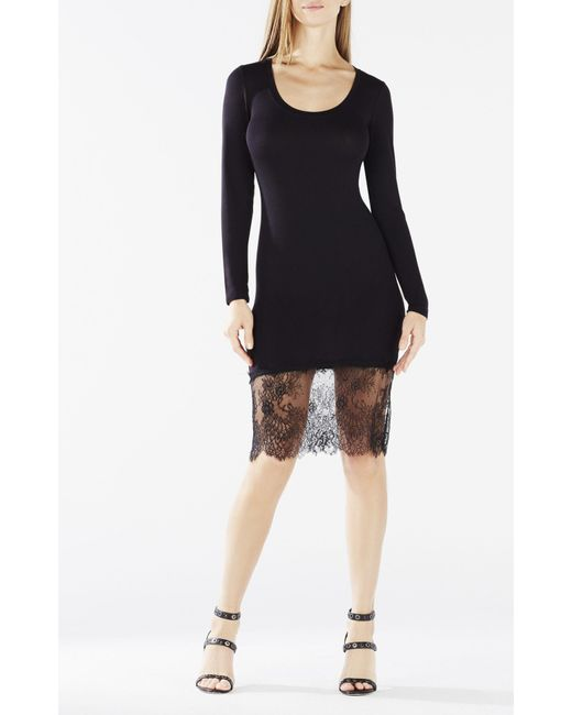 bcbgmaxazria livi lace hem dress in black lyst