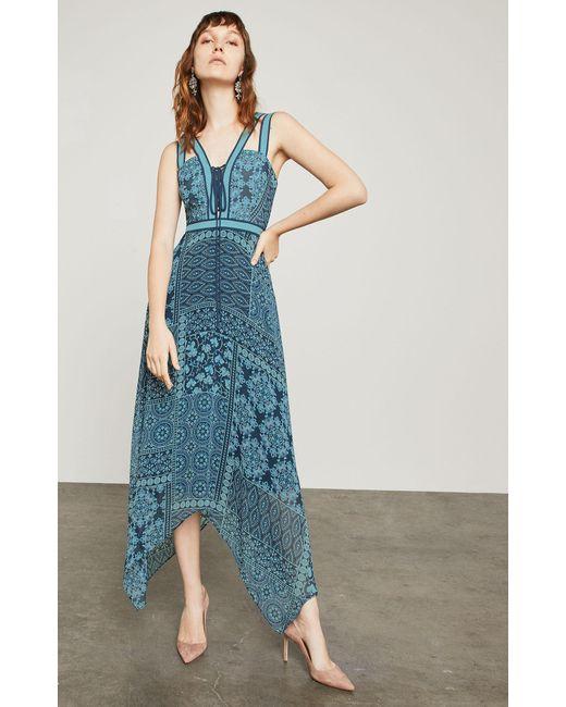 BCBGMAXAZRIA - Blue Bcbg Floral Tile Patchwork Maxi Dress - Lyst