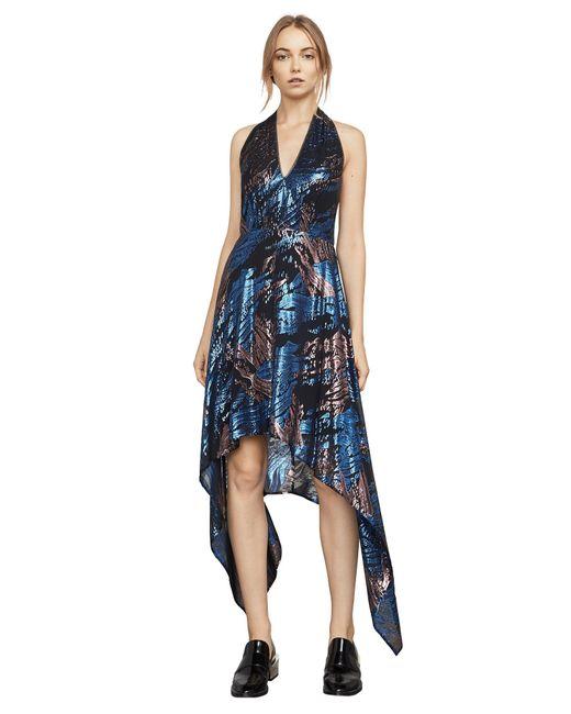 BCBGMAXAZRIA - Blue Bcbg Maegan Metallic Jacquard Halter Dress - Lyst