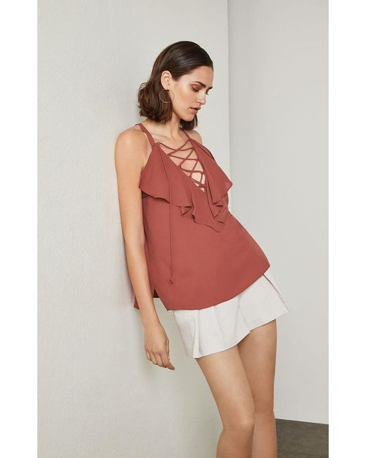 BCBGMAXAZRIA - Red Lace-up Ruffle Tank Top - Lyst