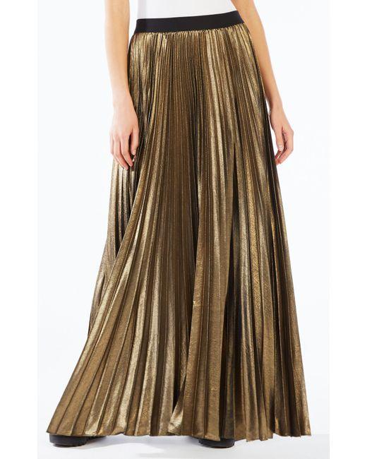 bcbgmaxazria dallin pleated metallic maxi skirt in gold