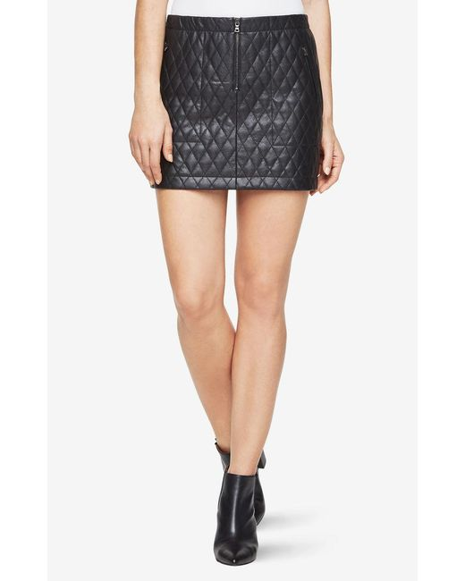 BCBGMAXAZRIA - Black Dotty Quilted Faux-leather Skirt - Lyst