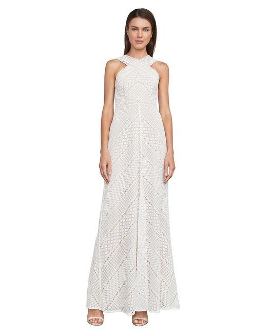 BCBGMAXAZRIA   White Bernadette Halter Lace Gown   Lyst