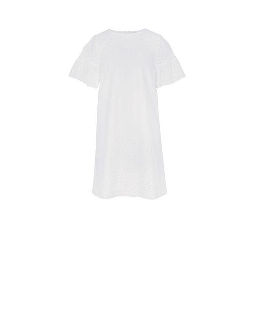 BCBGMAXAZRIA - White Short-sleeve Eyelet A-line Dress - Lyst