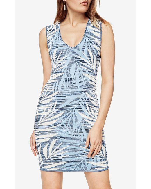 BCBGMAXAZRIA - Blue Bcbg Gari Palms Knit Jacquard Dress - Lyst