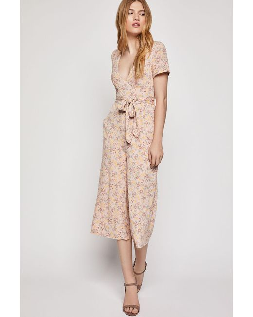 5353eb48cb4 BCBGeneration - Pink Allover Floral Cropped Jumpsuit - Lyst ...