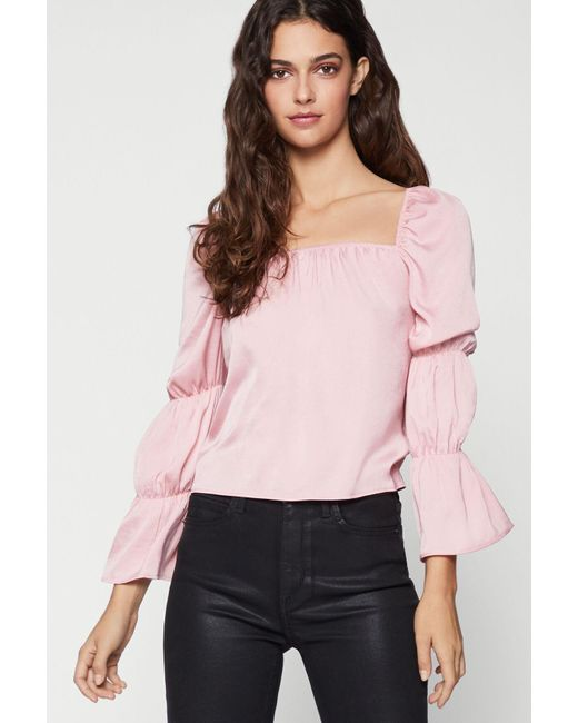 BCBGeneration Pink Square-neck Top