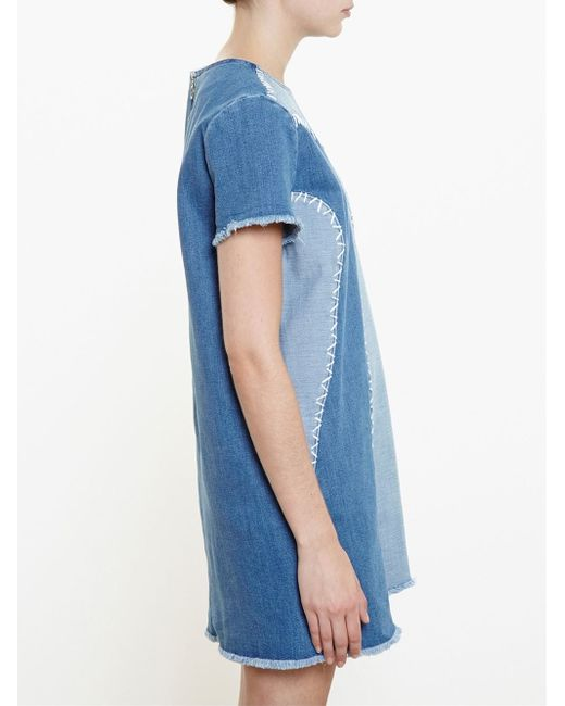 House Of Holland Patchwork Cotton Denim Dress In Gray Save 62 Lyst