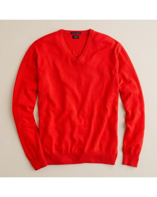 J.Crew | Red Italian Cashmere V-neck Sweater for Men | Lyst