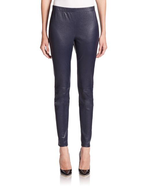 St. John | Blue Leather Cropped Leggings | Lyst