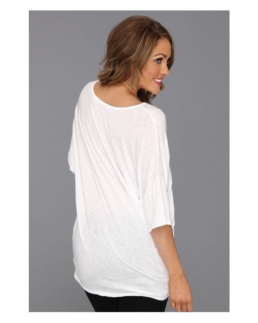 Michael stars elbow sleeve relaxed v neck in white lyst for Michael stars t shirts on sale