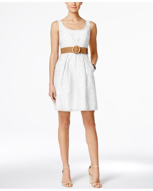 Nine west Belted Burnout Fit & Flare Dress in White