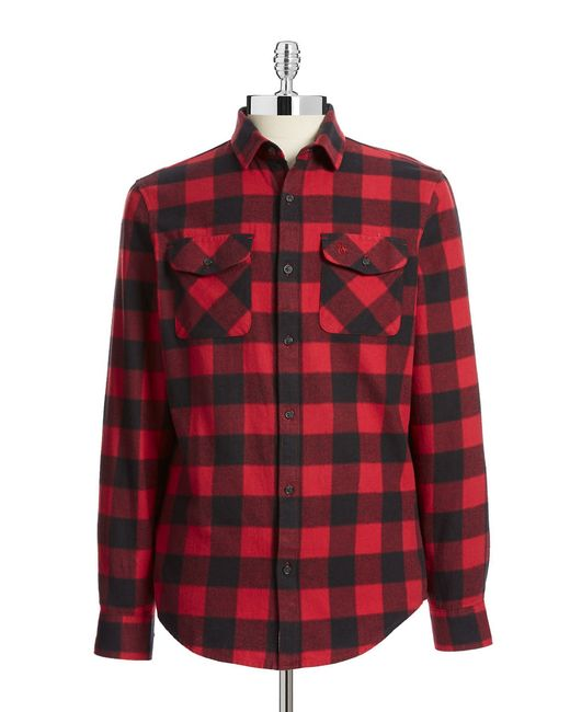 Original penguin buffalo check flannel shirt in multicolor for Buffalo check flannel shirt