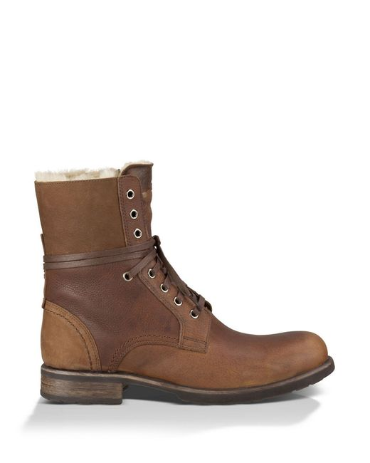 Ugg | Brown Larus Sheepskin Lace-up Boots for Men | Lyst