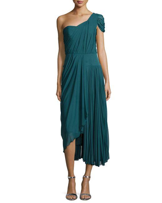 J. Mendel | Teal One-shoulder Asymmetric Pleated Dress | Lyst