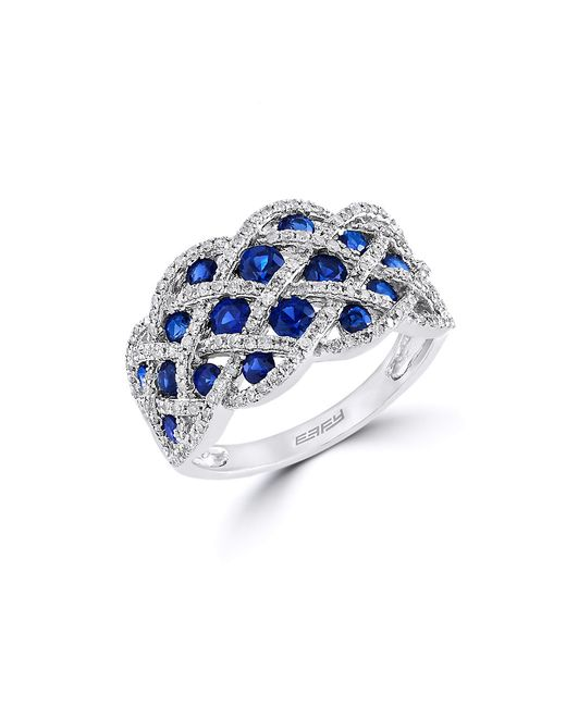 Effy | Blue Royale Bleu Diamond, Sapphire And 14k White Gold Ring | Lyst