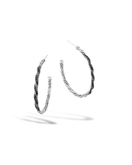 John Hardy | Twisted Chain Medium Hoop Earring With Black Sapphire | Lyst