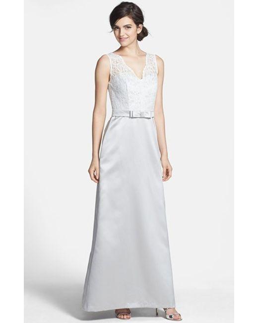 After Six | Gray Sleeveless Lace & Matte Satin Dress | Lyst