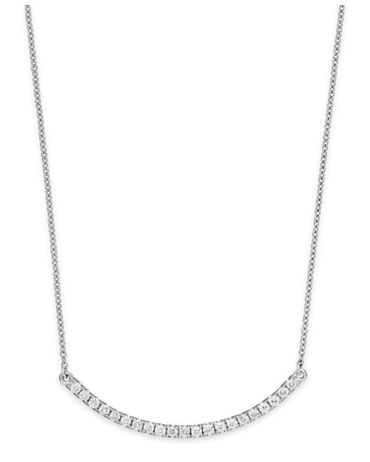 Macy's | Diamond Curved Bar Pendant Necklace In 14k White Gold (1/3 Ct. T.w.) | Lyst