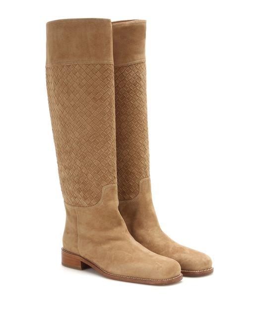 bottega veneta intreccio leather knee high boots in beige