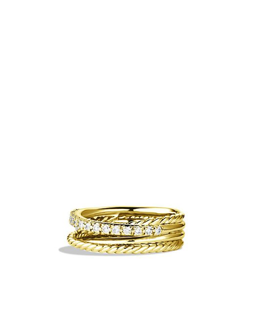 David Yurman | Metallic Crossover Ring With Diamonds In 18k Gold | Lyst