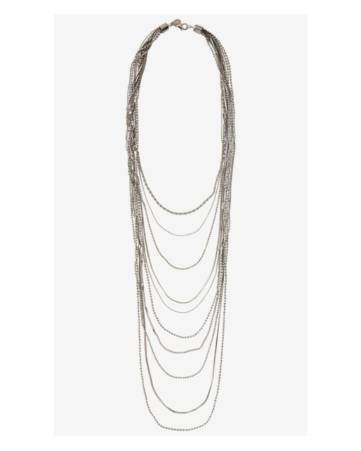Express | Metallic Mixed Chain 10 Row Nested Necklace | Lyst
