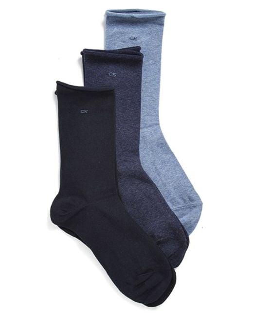 Calvin Klein | Blue Roll Top Crew Socks | Lyst