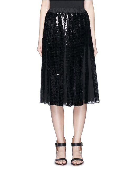 tibi 233 clair sequin pleat midi skirt in black save 30