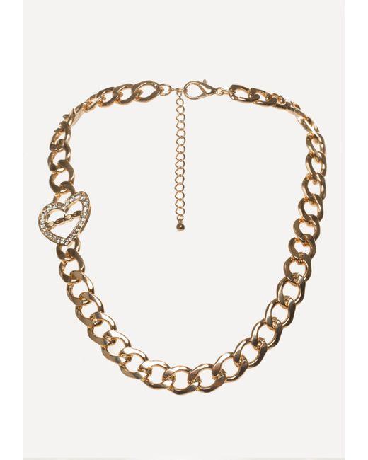 Bebe | Multicolor Logo Linear Heart Necklace | Lyst