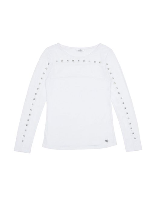 Bebe White Girls Studded Long Sleeve Top