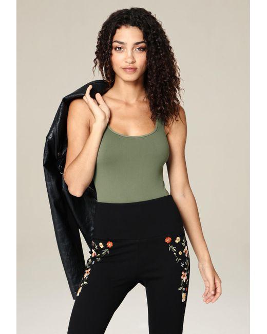 Bebe | Green Scoopneck Bodysuit | Lyst