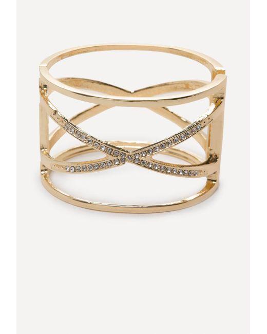 Bebe | Metallic Crisscross Hinge Cuff | Lyst