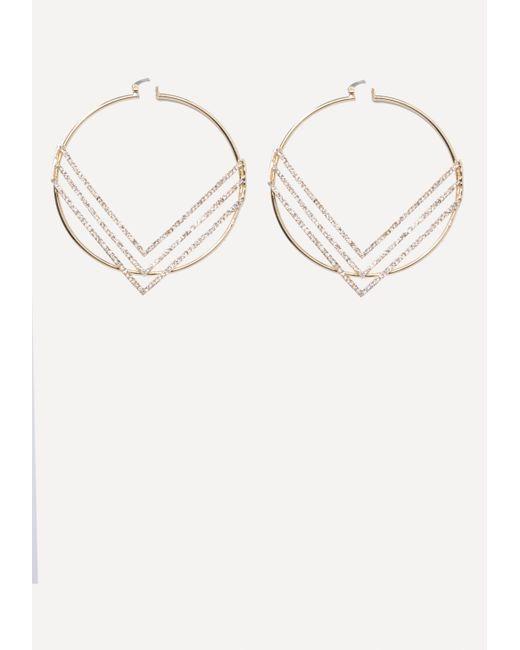 Bebe - Metallic Chevron Hoop Earrings - Lyst