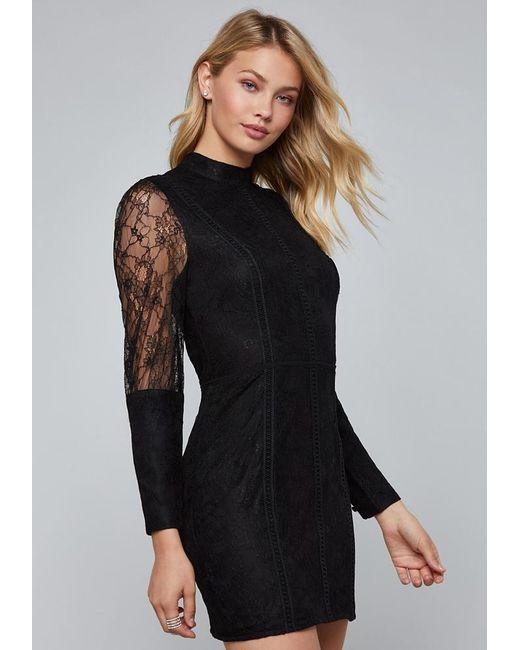 Bebe - Black Lattice & Lace Trim Dress - Lyst
