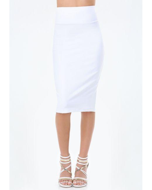 bebe knit midi skirt in white bright white lyst